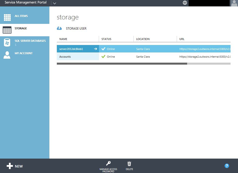 The blob storage screen in OutworX's integration looks very similar to the Azure public portal.
